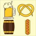 Oktoberfest element. Set of beer glass, barrel, hotdog flat illustration. Simple set of oktoberfest and minimal flat