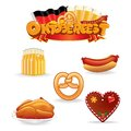 Oktoberfest food and drink icons vector clip art illustration of various beverages snacks Royalty Free Stock Images