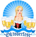 Oktoberfest girl serving beer Stock Images