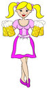 Oktoberfest girl serving beer vector illustration of Stock Photography