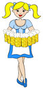 Oktoberfest girl serving beer vector illustration of Stock Image