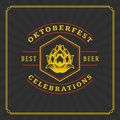 Oktoberfest Greeting card or Flyer on textured background. Beer festival celebration. Royalty Free Stock Photo