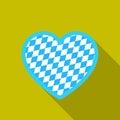 Oktoberfest heart icon in flat style isolated on white background. Oktoberfest symbol stock vector illustration.
