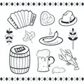 Oktoberfest icons set black white vector scetch ilustration Royalty Free Stock Photos