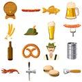 Oktoberfest icons set in cartoon style