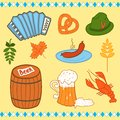 Oktoberfest icons set color collection vector illustration Stock Photography