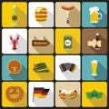 Oktoberfest icons set, flat style