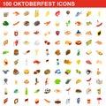 100 Oktoberfest icons set, isometric 3d style