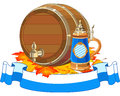Oktoberfest keg and mug Stock Photos