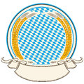 Oktoberfest label . Bavaria flag background with s