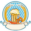 Oktoberfest label with beer and food. Bavaria flag