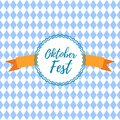 Oktoberfest logo stamp on blue-white checkered pattern and lettering Oktoberfest with ribbon . Bavarian beer fest Royalty Free Stock Photo