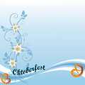 Oktoberfest pretzel background colorful with leaves and Stock Photos