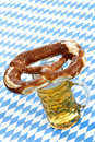 Oktoberfest Pretzel on beer stein (mug) Royalty Free Stock Photo