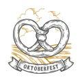 Oktoberfest pretzel. Happy oktoberfest. Black vintage engraved hand drawn vector Royalty Free Stock Photo