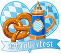 Oktoberfest pretzel and mug Royalty Free Stock Photo