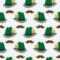 Oktoberfest seamless pattern with bavarian hat and moustaches