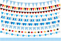 Oktoberfest set of flags, bunting, garland. October fest in germany collection of design elements. on white