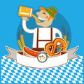 Oktoberfest symbol kabel with man and beer vector color illustration for text Stock Image
