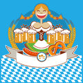 Oktoberfest symbol label with girl and beer vector woman color illustration for text Stock Photography
