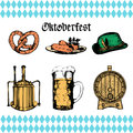 Oktoberfest symbols collection for beer festival flyer and poster. Vector hand sketched set of glass mug, pretzel etc. Royalty Free Stock Photo
