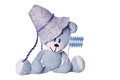 Oktoberfest teddy bear with fedora and blue white banner Stock Images