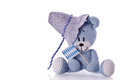Oktoberfest teddy bear with fedora and blue white banner Royalty Free Stock Photo