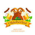 Oktoberfest vector background design. Octoberfest holiday banner Royalty Free Stock Photo