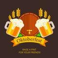 Oktoberfest vector background design. Octoberfest holiday banner Royalty Free Stock Photo