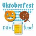 Oktoberfest 2018 of vector flat illustration. Beer, meat, fast food, mug, snack, pretzel, sausage on white blue Bavarian rhombic