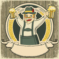 Oktoberfest vintage label with man and glasses of beer on old background texture Stock Image