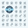 Oktoberfest, the world`s largest beer festival, Bavaria - minimal thin line web icon set. Outline icons collection.