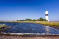 Oland s southern lighthouse sea bay view summer swedish landscape witn on island Royalty Free Stock Photo