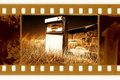 Old 35mm frame photo with american gas station Royalty Free Stock Photo