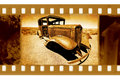 Old 35mm frame photo with Ford car Royalty Free Stock Photo