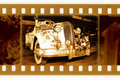 Old 35mm frame photo with retro car Royalty Free Stock Photography