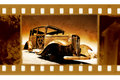 Old 35mm frame photo with retro Ford car Royalty Free Stock Photo