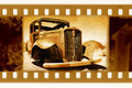 Old 35mm frame photo with usa retro car Stock Image