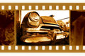 Old 35mm frame photo with usa retro car Royalty Free Stock Photo