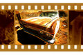 Old 35mm frame photo with usa retro car Royalty Free Stock Image