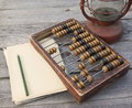 Old abacus the paper with a pencil next to lamp kerosene on wooden table Stock Photo