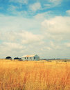 Old abandoned farm in field Royalty Free Stock Photo