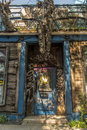 Old abandoned haunted house restaurant door Royalty Free Stock Photo