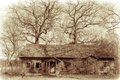 Old abandoned house and bare oak trees vintage look Stock Photos
