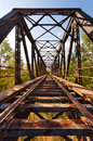 Old abandoned railroad bridge in valladolid spain diminishing perspective Royalty Free Stock Image