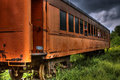 Old abandoned train car passenger rail or hdr Stock Photography