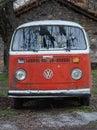 Old abandoned Volkswagen camper van Stock Photo