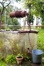 Old Abandoned Well and Bucket. Royalty Free Stock Photo