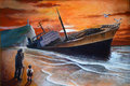 Old acrylic painting paperboard representing old man child grandfather grandson together watching wreck big cargo Stock Images