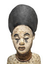 Old African statue bust isolated. Royalty Free Stock Photo